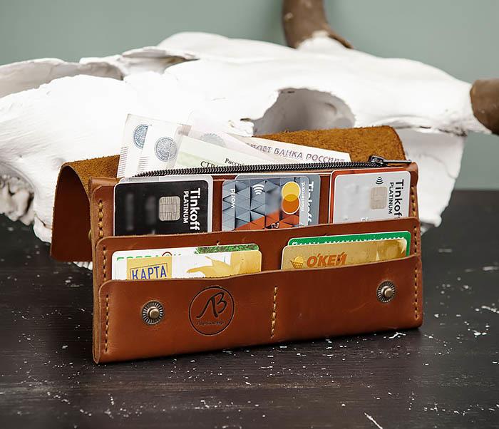 WB185-2 Тонкий клатч из коричневой натуральной кожи фото 09