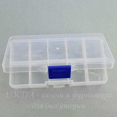 Пластиковый контейнер для хранения мелочей, прямоугольный 130х70х22 мм (синий)