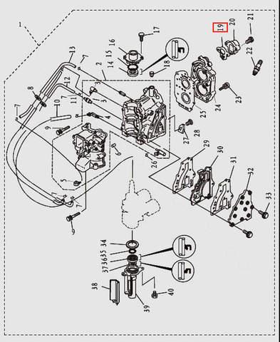 Прокладка термостата для лодочного мотора T9.8 Sea-PRO (2-19)