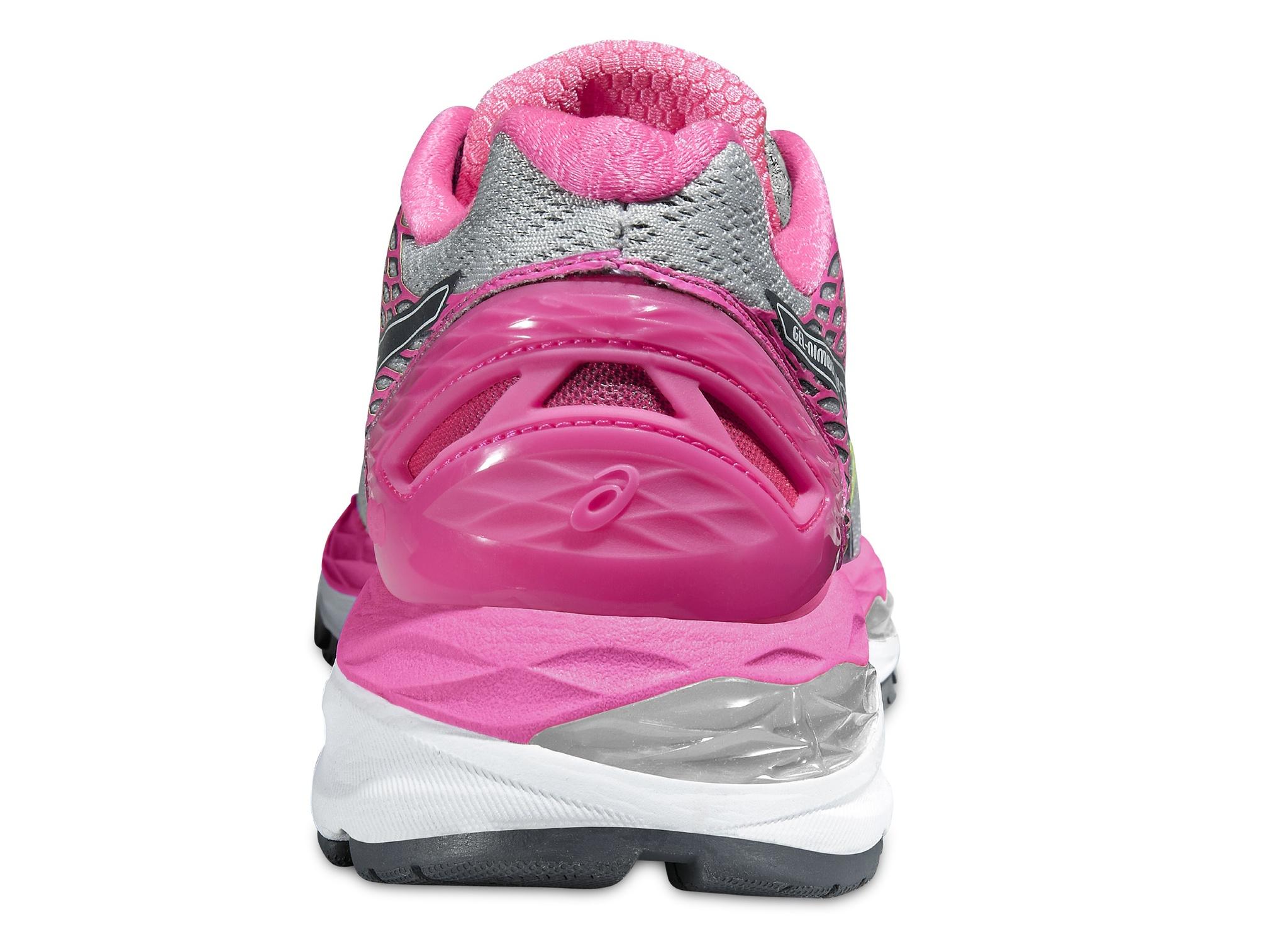 Женские беговые кроссовки Asics Gel-Nimbus 18 (T650N 9397) серые-розовые фото пятка