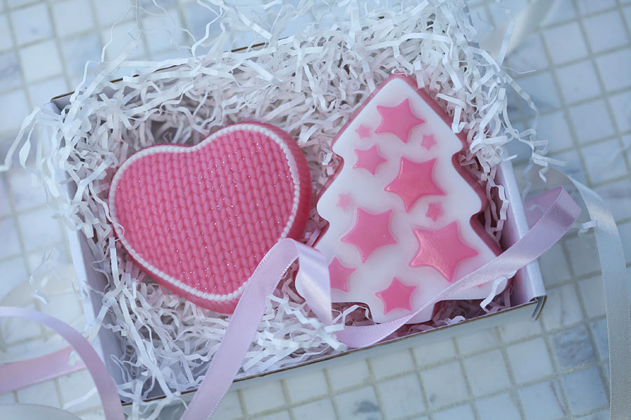 Пластиковая форма для мыла Елка со звездами. Готовое мыло