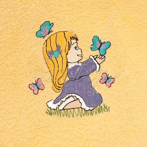 Халат детский махровый желтый Бабочка La Villa  (Турция)