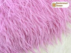 Перья на тесьме розовые 8-10 см (отрез 18 см)