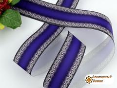 Лента репсовая с кружевом по краям фиолетовая 38 мм