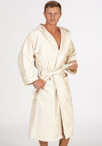 Мужской велюровый махровый халат с капюшоном