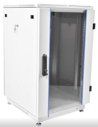 Шкаф телекоммуникационный напольный 22U (600 × 1000) дверь стекло, цвет чёрный