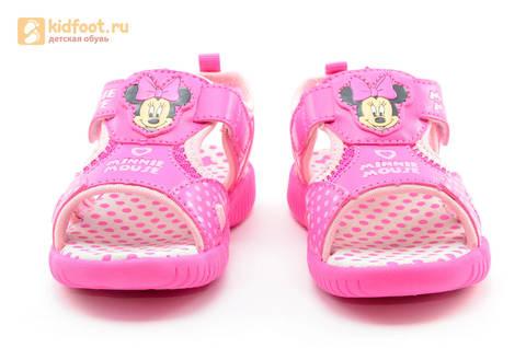 Босоножки Минни Маус (Minnie Mouse) на липучке для девочек, цвет розовый белый. Изображение 5 из 13.