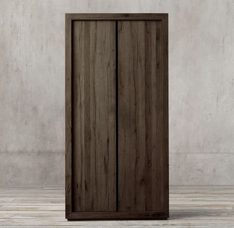 Reclaimed Russian Oak Panel Double-Door Cabinet