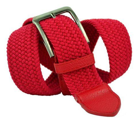 Ремень текстильный эластичный резинка джинсовый мужской красный 4 см 40Rezinka-100