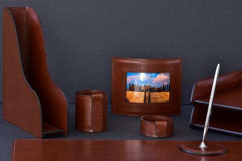 Лоток А4 вертикальный BUVARDO LUX из кожи Full Grain Toscana Tan