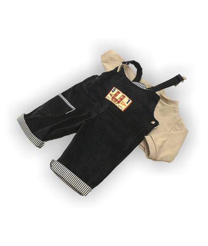 Полукомбинезон из вельвета - Бежевый. Одежда для кукол, пупсов и мягких игрушек.