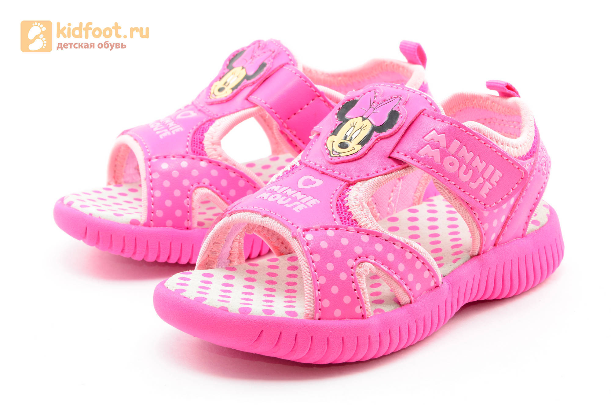 Босоножки Минни Маус (Minnie Mouse) на липучке для девочек, цвет розовый белый