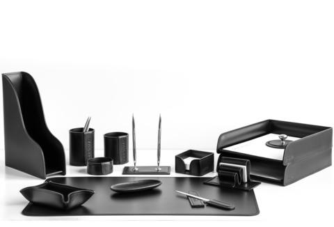 Настольный набор 14 предметов из кожи цвет черный №12