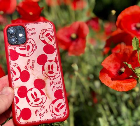 Чехол iPhone  XS Max Mickey Mouse Leather vintage /red/