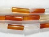 Нить бусин из сардоникса, термо обработанного, фигурные, 4x13 мм (цилиндр, гладкая)