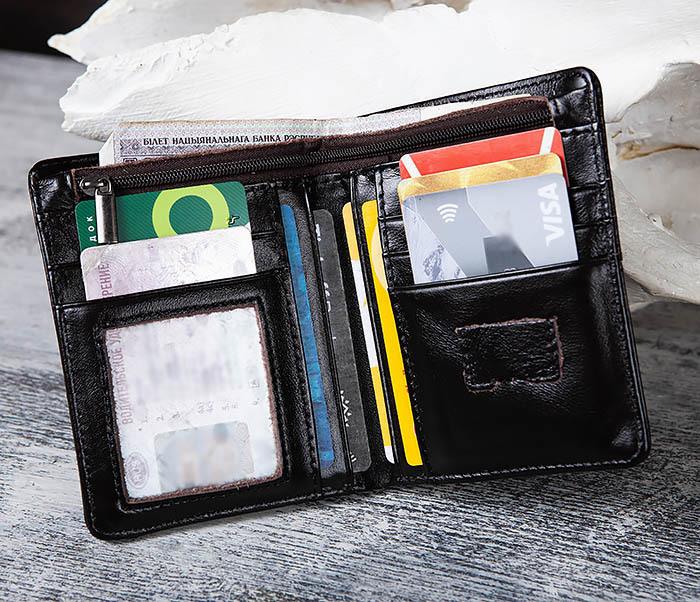 WL297-1 Кожаный кошелек с футляром для карточек фото 04