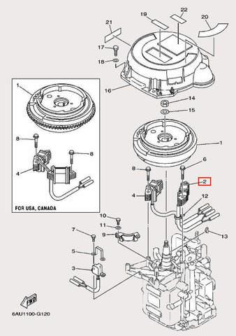 Катушка генераторная для лодочного мотора F9,9 Sea-PRO (11-2)