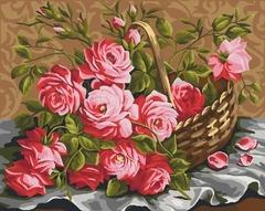 Корзина роз-картина по номерам, CG910