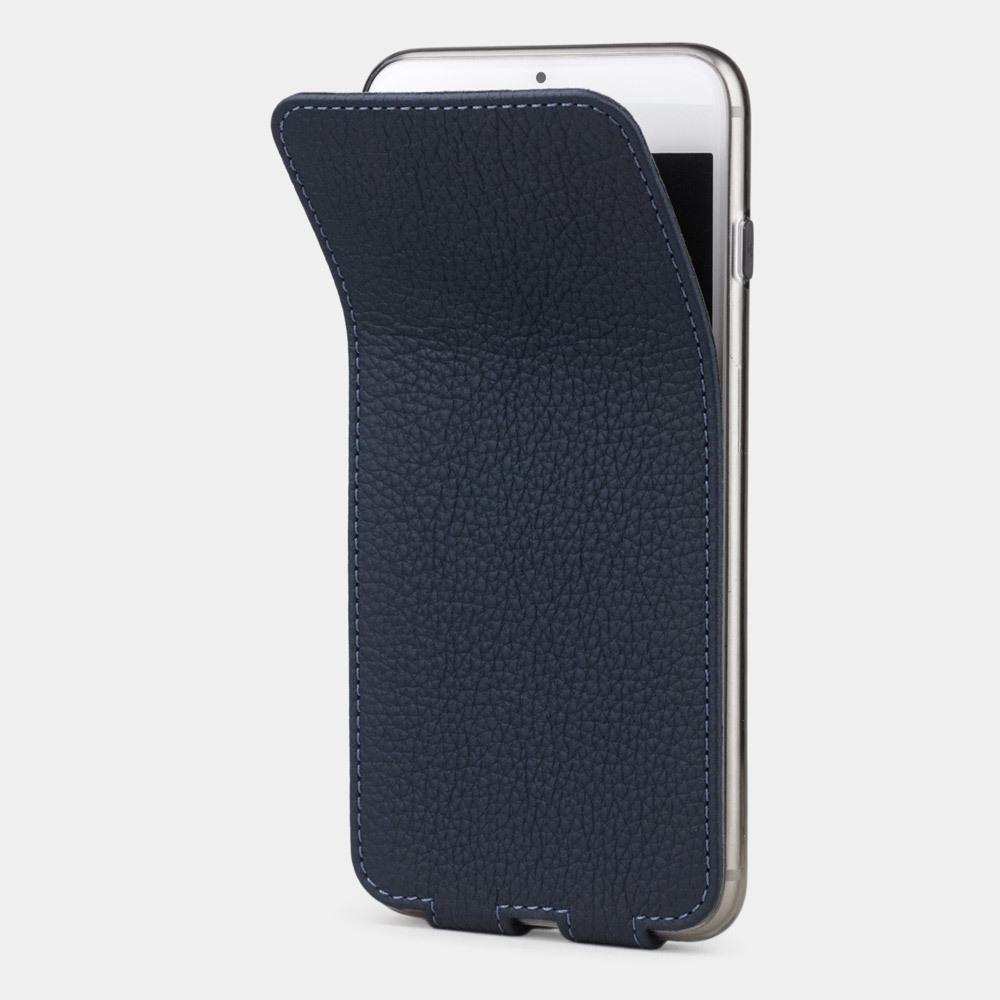 Чехол для iPhone 8 Plus из натуральной кожи теленка, цвета синий мат