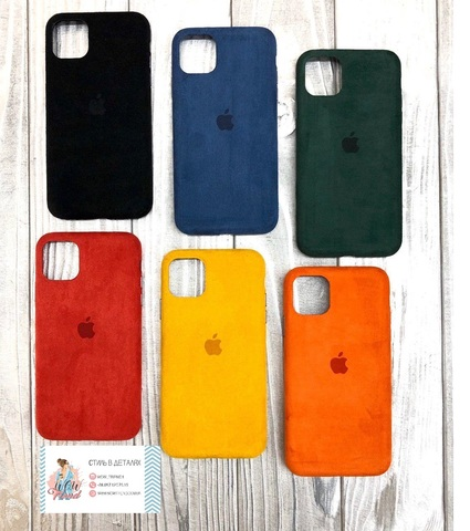 Чехол iPhone 11 Alcantara case full /blue/
