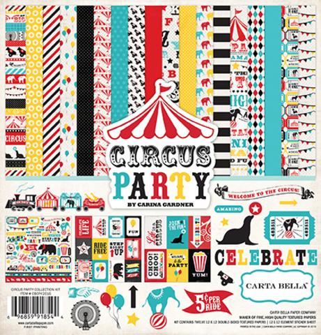 """Kit - набор двусторонней бумаги """"Circus Party"""" 30 х 30 см"""