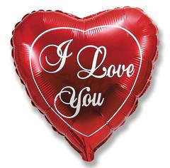 Шар (9''/23 см) Мини-сердце, Я люблю тебя, Красный, 5 шт