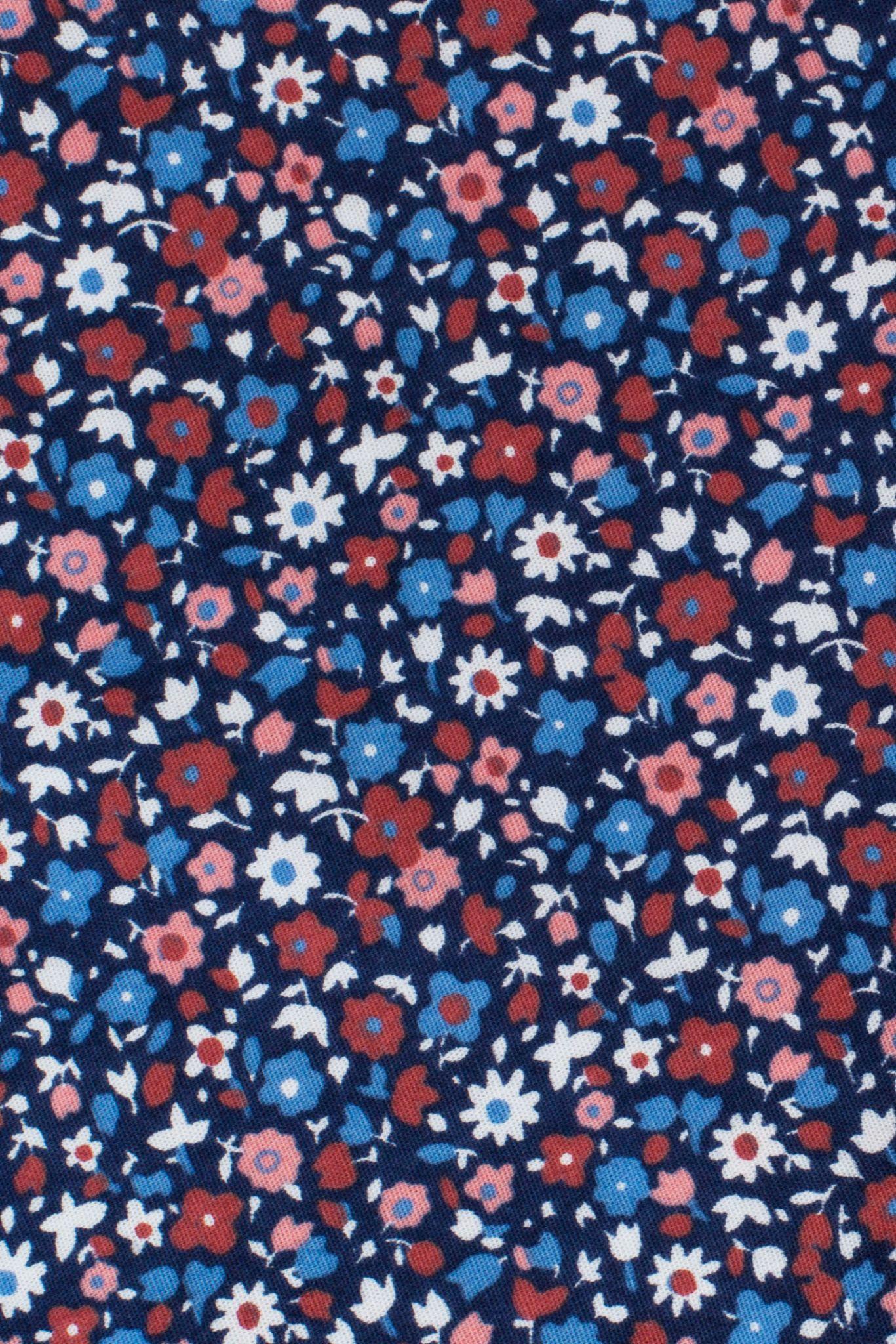 Синяя рубашка с мелким весёлым цветочным узором