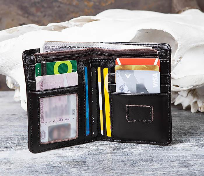 WL297-1 Кожаный кошелек с футляром для карточек фото 05