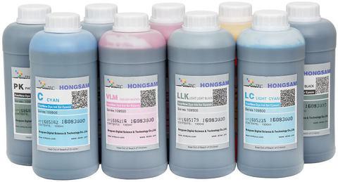 Комплект водорастворимых чернил для 9-ти цветных широкоформатных плоттеров Epson. 9x1000 мл