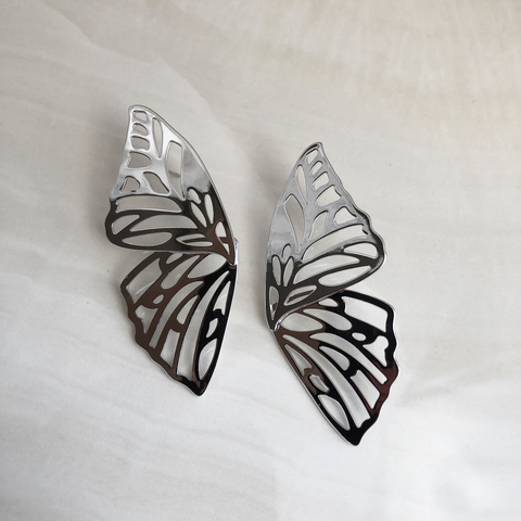 Серьги Крылья Бабочки, серебряный цвет