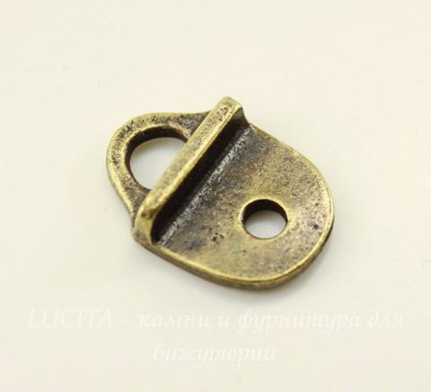 """Концевик для плоского шнура TierraCast """"Геометрия"""" (цвет-античная латунь) 16х12 мм"""