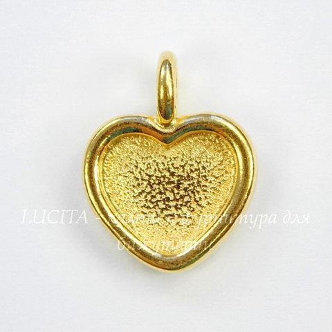 """Сеттинг - основа - подвеска TierraCast """"Сердце"""" для кабошона 10х9 мм (цвет-золото) 16х13 мм"""
