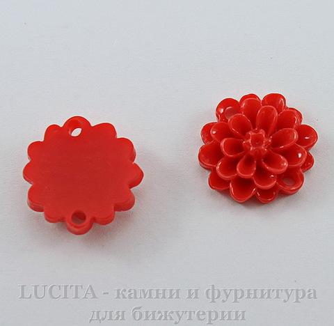 """Кабошон-коннектор акриловый """"Цветок"""" (1-1), цвет - красный, 14 мм"""