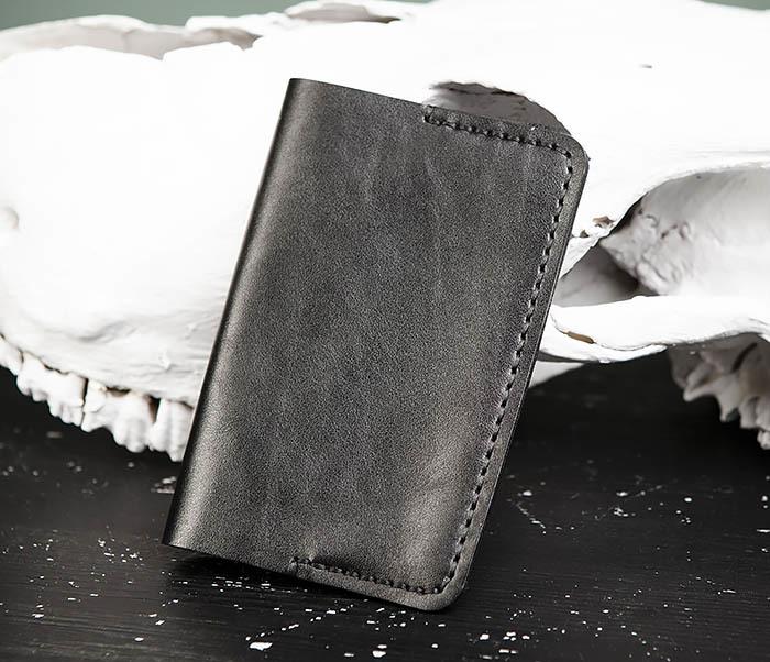 WB177-1 Обложка для паспорта из черной натуральной кожи фото 03