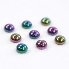 Кабошон круглый Чешское стекло, цвет - радужный микс, 5 мм, 10 штук