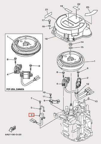 Катушка импульсная для лодочного мотора F9,9 Sea-PRO (11-3)