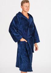 Мужской халат из велюровой махры темно-синего цвета