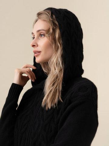 Женский джемпер черного цвета на молнии из 100% кашемира - фото 4