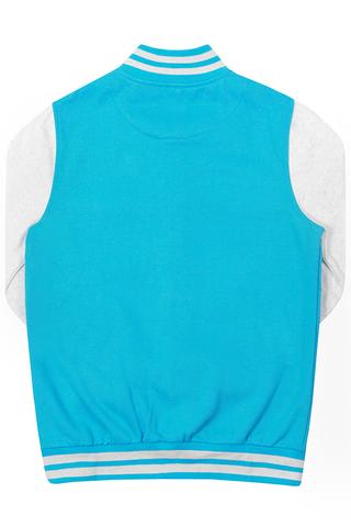 Бомбер голубой фото сзади