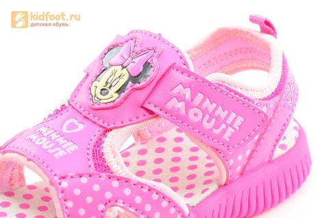 Босоножки Минни Маус (Minnie Mouse) на липучке для девочек, цвет розовый белый. Изображение 11 из 13.