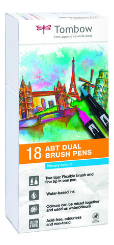 Набор маркеров Tombow ABT Dual brush pens, основные цвета-1, 18 цветов.
