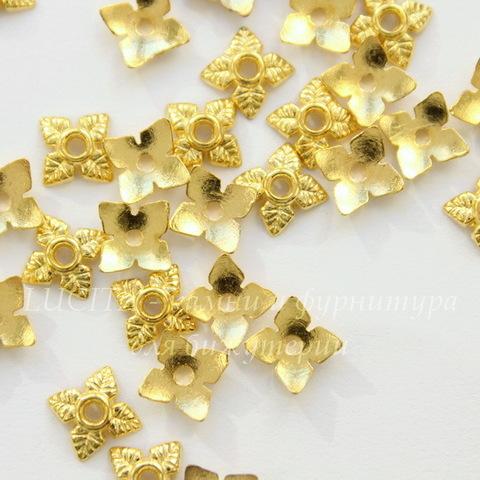 """Шапочка для бусины """"4 листика"""" 6 мм (цвет - золото), 10 штук"""