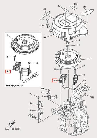 Катушка световая для лодочного мотора F9,9 Sea-PRO (11-4)