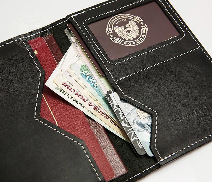 WB134-1 Кошелек с отделением для паспорта, карт и окошком. «Boroda Design»