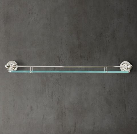 1900 Classic Edwardian Glass Shelf with Rail
