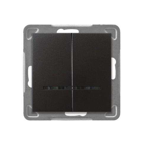 Выключатель двухклавишный с подсветкой. Цвет Антрацит. Ospel. Impresja. LP-2YS/m/50