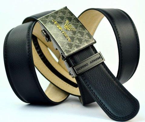 Ремень-автомат для брюк мужской чёрный 35мм из натуральной кожи Georgio Armani (копия) 35Brend-Auto-016