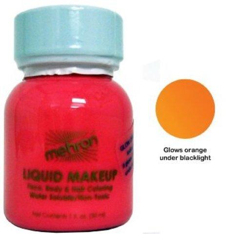 MEHRON Светящийся в ультрафиолете жидкий грим Liquid Makeup, Fluorescent (Black Light) Orange