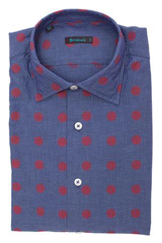 Синяя рубашка в редкий крупный красный горох