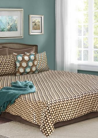 Комплект для спальни жаккард Ормеда коричневый